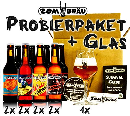 Zombräu Craft Beer Probierpaket inkl. Verkostungsglas - 8 x 0,33l Bier Set - In Handarbeit gebraute Biersorten mit einzigartigem Geschmack - Zum Bier Tasting oder als perfekte Geschenkidee