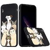 Idocolors Funda para iPhone XR Silicona Líquida Gel Perro y Gato Carcasa Totalmente Protectora con Forro Interno Microfibra Cover Anti-Rasguño y Resistente Huellas Dactilares Case - Negro Caso