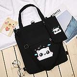 Shoulder bag さんキャンバスショルダーバッグコットンバッグショッピングバッグ再利用可能な買い物袋布ハンドバッグメッセンジャーバックパック学生 Canvas bag (Color : Black)