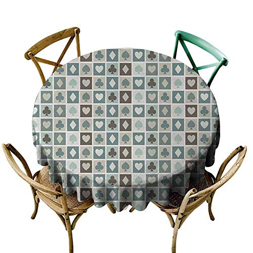 Picnic Cloth Casino,Card Suits,Hearts,Spades,Diamonds,Clubs Pattern Gaming Houses Addiction Print,Multicolor Diameter 36' Overlays Round Tablecloth