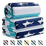 CABANANA Large Oversized Beach Towel - Velour Cotton Print 35 x 70 Inch Blue Cyan Striped Sand Free Pool Towel, Big Summer Mens Swim Cabana Towel