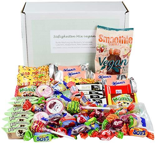 Süßigkeiten Mix Vegan Geschenk Box mit Schokolade, Bonbons, Lutschern, Retro Sweets uvm. (1 x 710g)