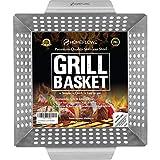 Homeflowz Vegetable Grill Basket - Large Heavy Duty Stainless Steel Grilling Basket - Grills Veggies...