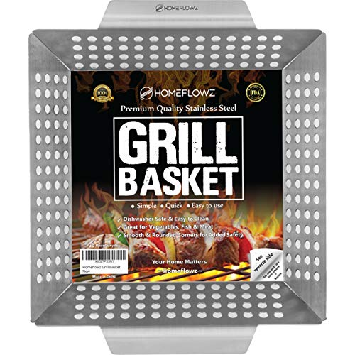 Homeflowz Vegetable Grill Basket - Large Heavy Duty Stainless Steel Grilling Basket - Grills Veggies Fish Shrimp Kabob & Meat - Use with Weber & All Outdoor BBQ Grills