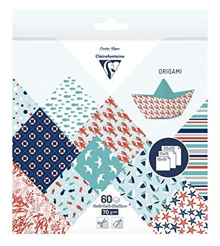 Clairefontaine 95361C – ein Origami-Beutel 60 Blatt 70 g (3 Papierformate: 10 x 10 cm, 15 x 15 cm, 20 x 20 cm, verschiedene Motive (10 Motive x 2 Blatt pro Format), groß