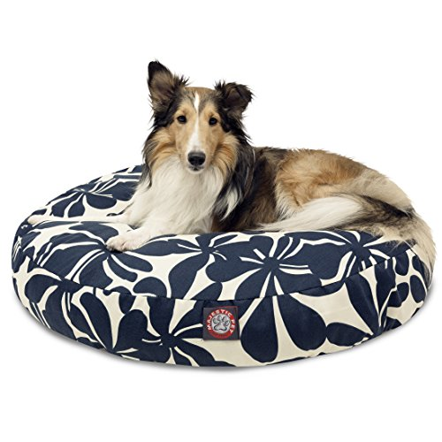 Navy Blue Plantation Medium Round Indoor Outdoor Pet Dog Bed With Removable Washable Cover By Majestic Pet Products