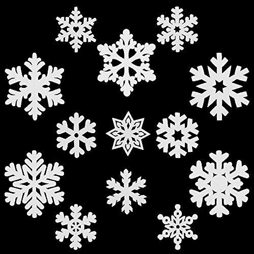 NewZC, 100 ciondoli natalizi in legno a forma di fiocco di neve, 2 misure, 25 mm, 35 mm, in legno, decorazione natalizia da appendere