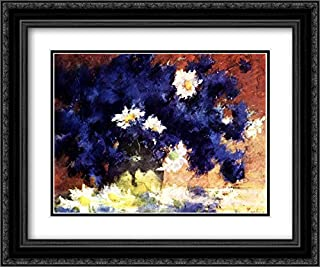 Cornflowers 24x20 Black Ornate Frame and Double Matted Museum Art Print by Stefan Luchian