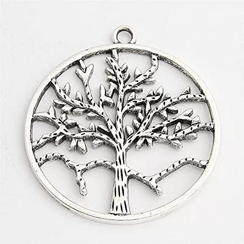 FGHHT 2pcsColgante de Forma Redonda de los encantos del árbol del Color Plateado para la Familia de la Pulsera del Collar