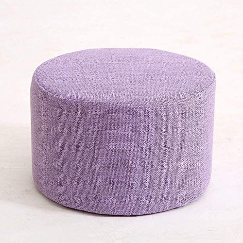 JUIO` Round Linen Fabric Upholstered Pouffe Seat Ottoman Pouffe Stool Footstool Handmade Knitted Woven Cotton Cover Sofa Stool Seat For Home Office Living Room (Color : Purple)