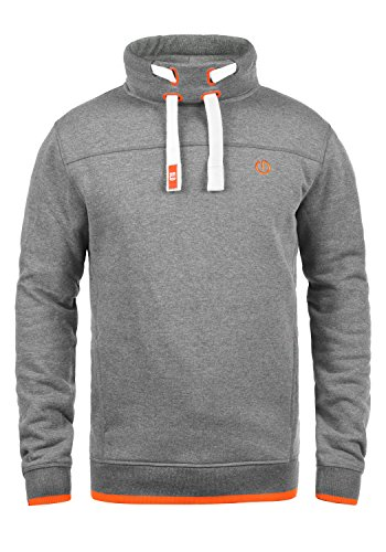 !Solid Benjamin Herren Sweatshirt Pullover Pulli Mit Stehkragen Und Fleece-Innenseite, Größe:XL, Farbe:Grey Melange (8236)