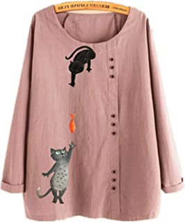 TT WARE Button Cartoon Cat Print O-Neck Casual Blouse Shirts-Pink-10