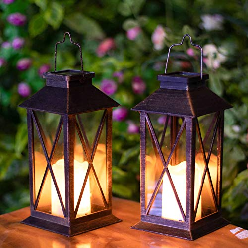 Hapjoy Solar Lantern, Outdoor Hanging Solar Lights Waterproof LED for Porch Garden Patio Pathway Deck Yard Bronze (2 Pack)