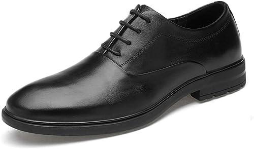 YHUISEN Chaussures Chaussures Oxford d'affaires de Haute qualité pour Hommes Décontracté Décontracté Classique Solide Couleur Chaussures Formelles (Slip on en Option) (Couleur   Noir, Taille   43 EU)
