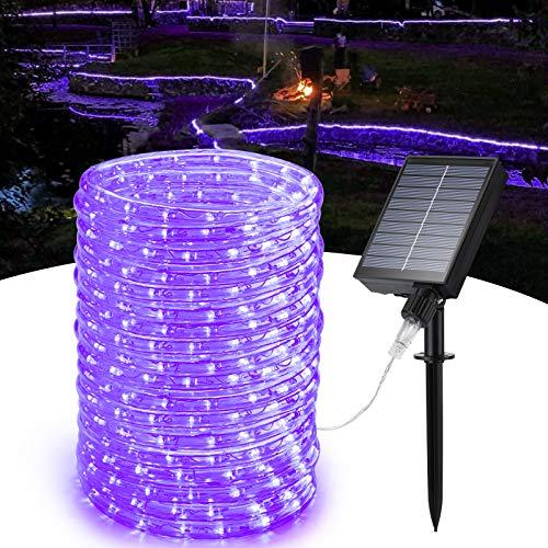 Toodour Luces solares para exteriores, 33 pies, 240 luces LED para exteriores, impermeables, con energía solar, 8 modos, luces de hada solares para jardín, valla, patio, verano, fiesta, boda (morado)