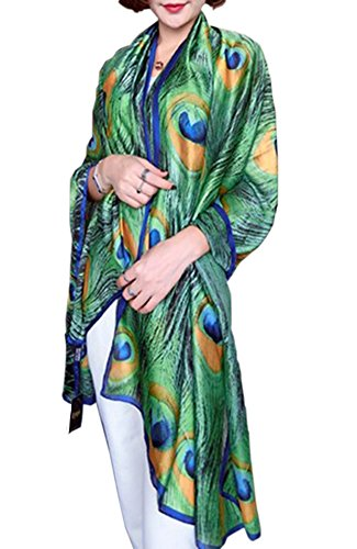 X&F Women's Fashion Peacock Feather Prints Long Scarf Summer Wrap Shawls