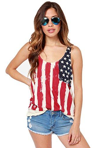 REINDEAR Fashion Women Patriotic American Flag Print Lace Camisole Tank Top (XXL, Style #2)