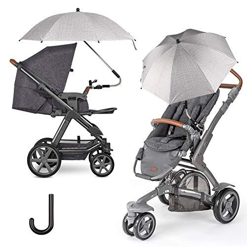 FREESOO Universal Sonnenschirm Sonnenschutz für Kinderwagen & Buggy - UV Schutz UPF50+ 75CM Sonnenschirm 360° verstellbar für Rund- oder Ovalrohr Regenschirm Kinderwagen Biegsamer Schirm Grau