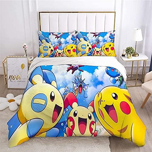 Aatensou Pi-ka-chu - Juego de ropa de cama de microfibra, diseño de Po-ke-mon con 2 fundas de almohada, para fans del anime, ropa de cama (A5,135 x 200 cm + 80 x 80 cm x 2)