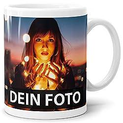 Print Royal Foto-Tasse zum selbst gestalten mit Foto und Text/mit individuellen Druck in Profiqualität/Personalisierte Geschenk-Idee mit Bild/Weiss - Glanz