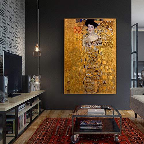 No frame Portret Van Adele Bloch Canvas Schilderijen Aan De Muur Gustav Klimt Kus Schilderijen Reproducties Canvas Prints Woonkamer 50x75cm