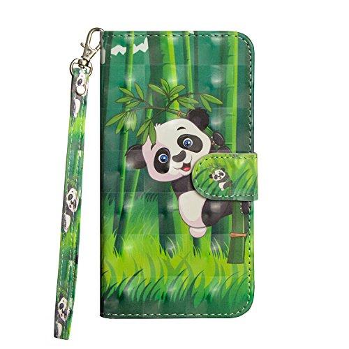 Sunrive Hülle Für ZTE Blade V6/D6/X7/L6, Magnetisch Schaltfläche Ledertasche Schutzhülle Hülle Handyhülle Schalen Handy Tasche Lederhülle(Panda auf Bambus)+Gratis Universal Eingabestift