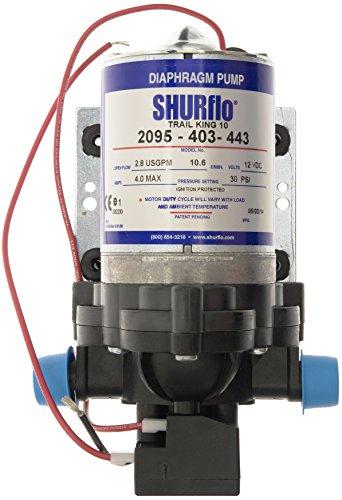 Shurflo 2095-403-443 Trail King 10 waterpomp, grijs (12 V/2,07 bar), zilver, 30 PSI