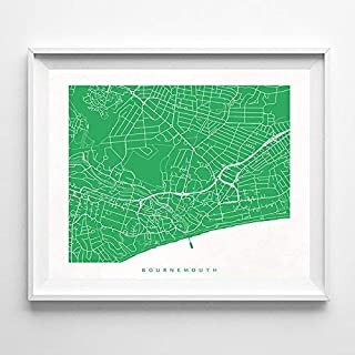 Bournemouth England Street Road Map Home Decor Poster Urban City Hometown Wall Art Print - 70 Color Options - Unframed