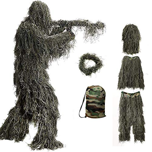 Ghillie Suit, 3D Camouflage Hunting Apparel Camouflage Camo Tactical Hunting Forest Woodland Ghillie Suit for Jungle Hunting, Shooting, Airsoft (5 in 1 Ghillie Suit, Ghillie Suit Size for Kids)