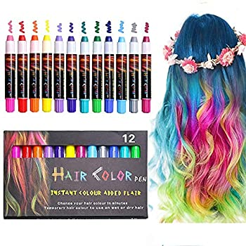 EZCO 12 Color Temporary Hair Chalk Pens Crayon Salon Washable Hair Color Dye Face Kit Safe for Makeup Birthday Party Gift for Girls Kids Teen Adult