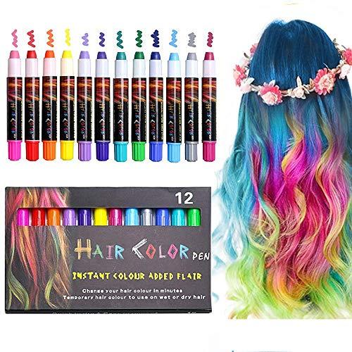 EZCO Haarkreide, Temporär Haarfarbe Kreide Kamm 12 Stück für Kinder Mädchen,Colorful Professional Waxy für Karneval, Party, Weihnachten Halloween Geburtstag