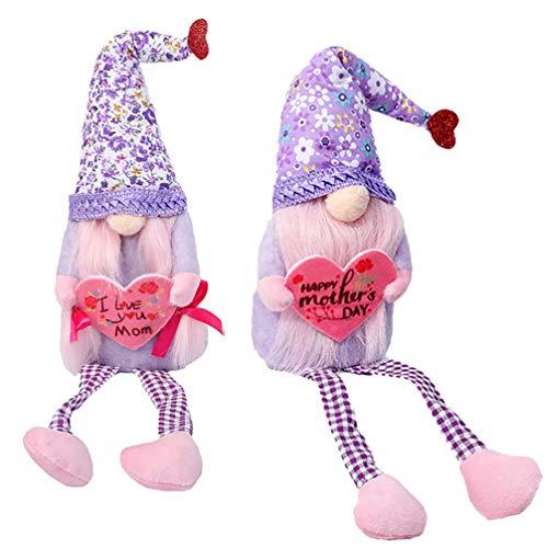 ifundom 2 Piezas de Decoración para El Día de Las Madres Tela de Felpa Muñeca Enana de Duendecillo con Corazón Figuras de Flores Rústicas Figuras de Centro de Mesa Regalos 47X10CM