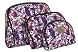Nicole Miller 3 Pc Cosmetic Bag Set, Purse Size Makeup Bag for Women, Toiletry Travel Bag, Makeup Organizer, Cosmetic Bag for Girls Zippered Pouch Set, Large, Medium, Small (Colorful Floral Print)