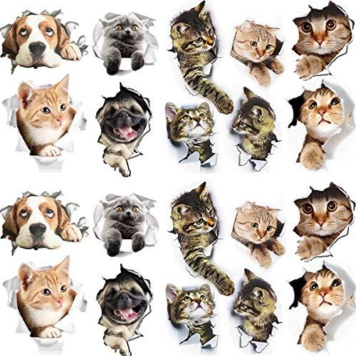 pegatinas pared gatos Fiyuer 20 Pcs calcomanías animales pared decorativas 3d para Coche Ventana Inodoro Cuarto de Baño Dormitorio Guardería Cocina Decoración de Pared