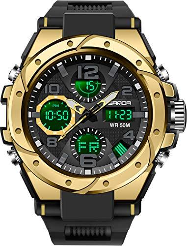 Herren Militärische Digitale Sportuhr Große Anzeige Armbanduhr 5ATM wasserdichte mit Wecker Kalender Stoppuhr Chronograph