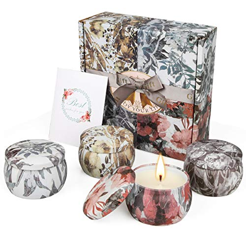 Scented Candles Gifts Set for Women, 4.4 oz Large Tin Valentine Gift of Soy Wax Aromatherapy Candles for Home Scented, Lavender Candles 4 Pack
