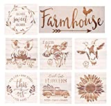 Farmhouse Stencils Farm Theme Reusable Stencils for Painting on Wood, Cow/ Sunflower/ Vintage Truck or Other Pattern Stencil for Scrapbooking Drawing Wall Floor Fabric Decors (Farm02)