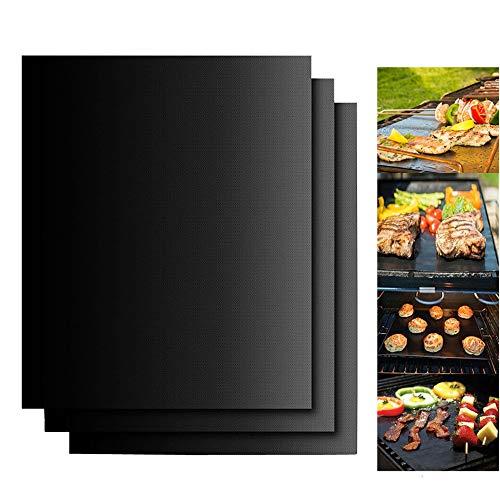 Dailyart BBQ Grillmatte 3er Set Antihaft Grillmatten Backmatte Wiederverwendbar FDA Zugelassen PFOA Frei Toll über Kohle, Gas und Weber Style Grills Perfekt für Fleisch, Fisch und Gemüse 40x33 cm