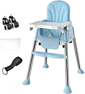 Beautiful Baby And Toddler Foldable High Chair Dining, Height Adjustable, 3-point Harness, Detachable Double Tray (Color :...