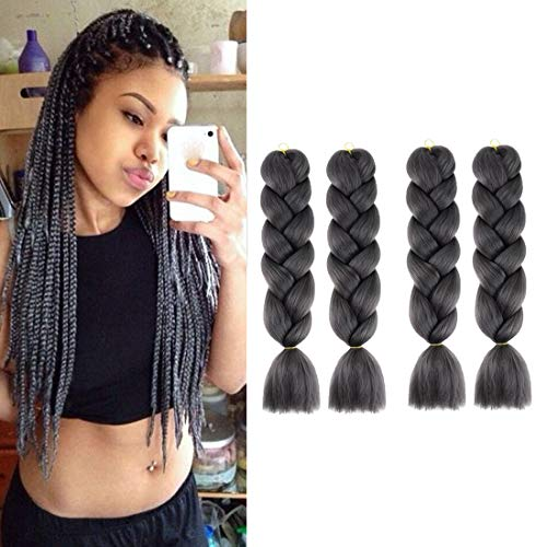 WAYDA 4Pcs Braiding Hair, Jumbo Braids Hair Extensions High Temperature Kanekalon Synthetic Ombre Twist Hair for Women(Grey)