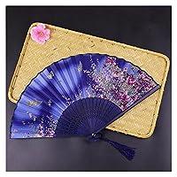扇子 ビンテージスタイルのシルク折りたたみファン家の装飾飾りダンスハンドファン中国の和柄アートクラフトギフトパフォーマンス小道具 (Color : F)