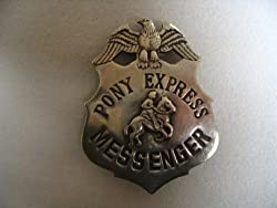 Image: Pony Express Messenger Obsolete Old West Police Badge Star, by Pieces of History