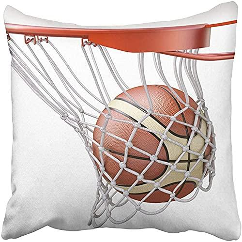 Throw Pillow Cover Poliéster 18X18 Pulgadas Baloncesto de Red Blanca Entrando en el aro de la Canasta Juego de Competencia de Tablero de Tiro de Pelota 3D