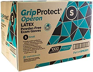 GripProtect® Operon Latex Exam Gloves, Disposable, Textured, Medical, Automotive, Janitorial, Home (1000/Cs) (Small)