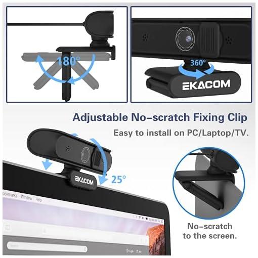 EKACOM Webcam 1080P Full HD con Microfono,Cámara Web con Cubierta de Privacidad ,Usb Web Camera PC Plug y Play para… 4
