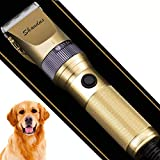 Shandus Professional Dog Clippers, Heavy Duty Pet Grooming Trimmer Rechargeable Low Noise Dog Hair Clippers with Guard Combs Brush for Dogs Cats and Other Animal