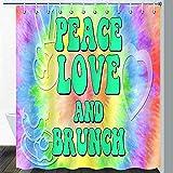 CJSZSD Cortina de ducha Peace and Love Graffiti colorido Neon Splashes Funny Word Love Rainbow Art Colorido conjunto de cortinas de baño abstractas con ganchos de 72 x 72 pulgadas