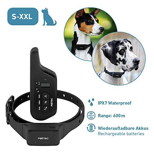 PetTec Erziehungshalsband mit Fernbedienung || 16 Vibrationsstufen + Tonsignal || 600m Reichweite, wiederaufladbarer Akku, für kleine und große Hunde, wasserdicht IPX7 (Remote Vibra Advance 2.0)