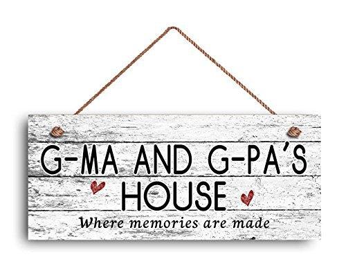 Norma Lily G-ma et G-pa de plaque de maison, où les souvenirs sont fabriqués, style vieilli, cadeau pour grands-parents, 6 et (X 14 et (Panneau en bois.