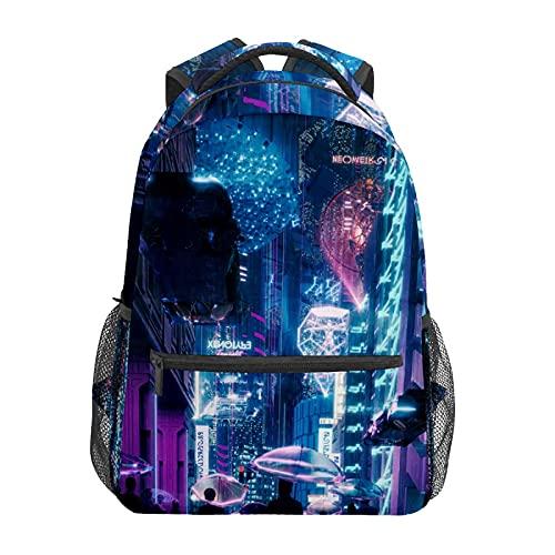 Mochila de animación japonesa CITY Nights, mochila de viaje para ordenador portátil, mochila impermeable duradera para estudiantes; mochila moderna